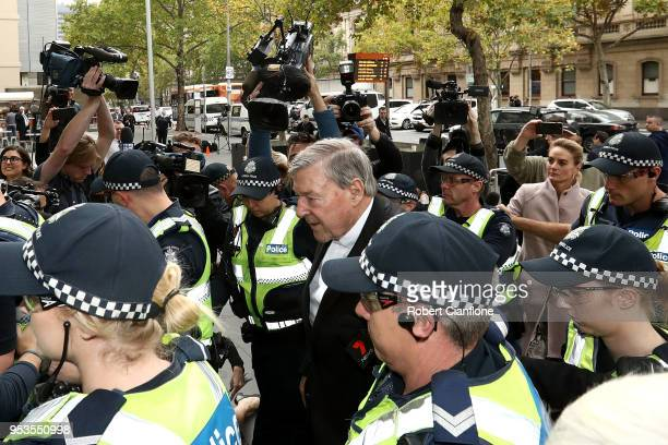 Cardinal George Pell arrives at Melbourne Magistrates' Court on May 2 2018 in Melbourne Australia Cardinal Pell was committed to stand trial on...