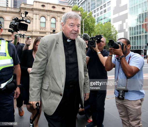 MELBOURNE VIC Cardinal George Pell arrives at the Victorian County Court in Melbourne Victoria Pell was found guilty of child sexual abuse charges