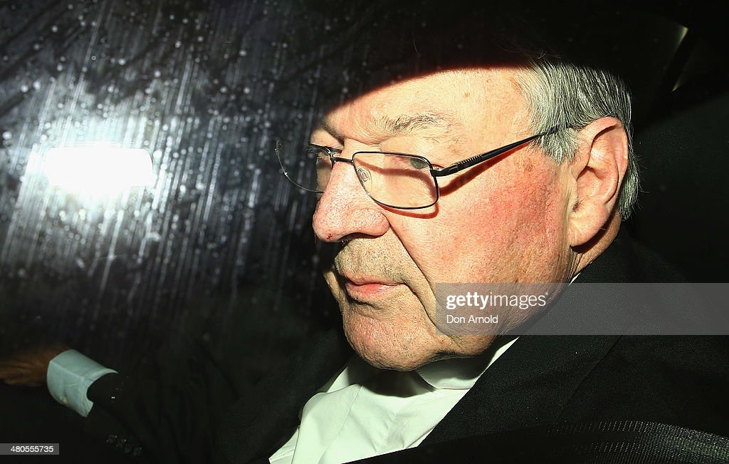 Cardinal George Pell arrives for his appearance at the Royal Commission on March 26, 2014 in Sydney, Australia. Cardinal Pell is facing the Royal Commission into Institutional Responses to Child Sexual Abuse in Sydney to answer questions about whether he was involved in compensation discussions related to the case of John Ellis who was sexually abused by Father Aidan Duggan.Cardinal Pell will soon move to Rome to undertake a senior role at the Vatican.