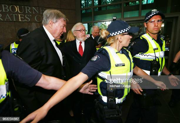 Cardinal George Pell arrives with his defending lawyer Robert Richter QC at Melbourne Magistrates' Court on May 1 2018 in Melbourne Australia...