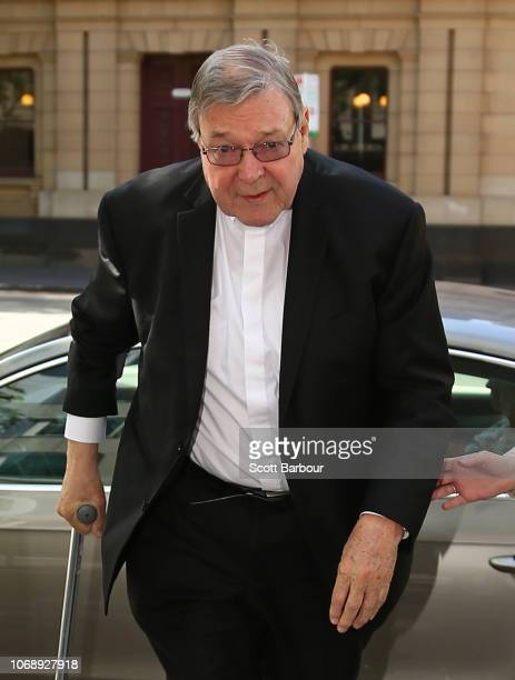 Cardinal George Pell exits a vehicle on December 6 2018 in Melbourne Australia