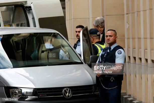 Cardinal George Pell is taken away from the Supreme Court of Victoria on August 21, 2019 in Melbourne, Australia. Cardinal George Pell will find out...