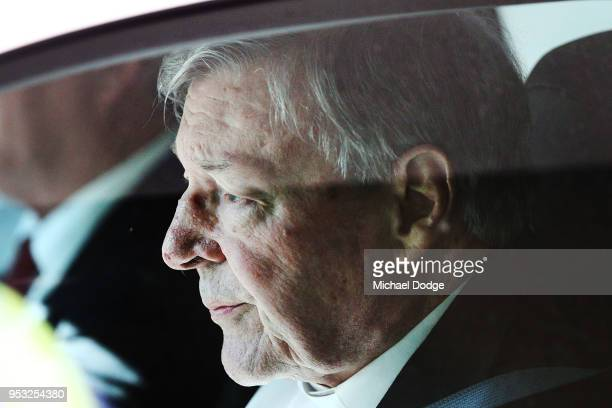 Cardinal George Pell leaves at Melbourne Magistrates' Court on May 1 2018 in Melbourne Australia Cardinal Pell was charged on summons by Victoria...