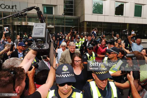 Cardinal George Pell leaves County Court on February 26 2019 in Melbourne Australia Pell once the third most powerful man in the Vatican and...