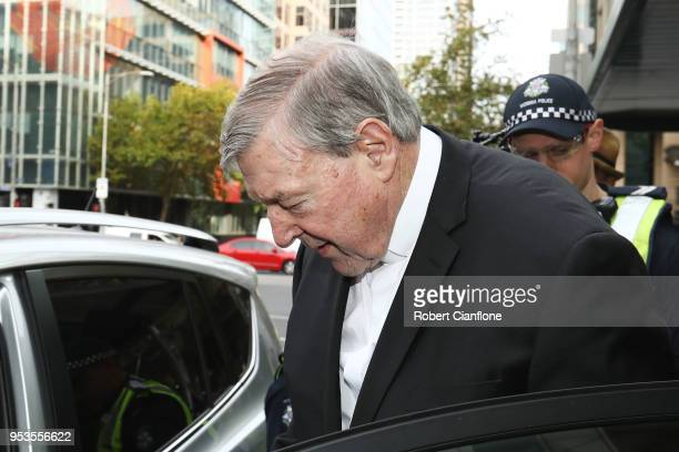Cardinal George Pell leaves Melbourne Magistrates' Court on May 2 2018 in Melbourne Australia Cardinal Pell was committed to stand trial on Tuesday...