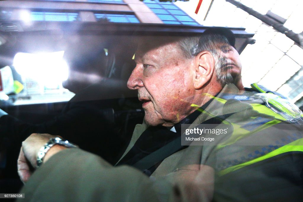 Cardinal George Pell leaves the Melbourne Magistrates' Court on March 5, 2018 in Melbourne, Australia. Cardinal Pell was charged on summons by Victoria Police on 29 June 2017 over multiple allegations of sexual assault. Cardinal Pell is Australia's highest ranking Catholic and the third most senior Catholic at the Vatican, where he was responsible for the church's finances. Cardinal Pell has leave from his Vatican position while he defends the charges.