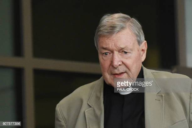 Cardinal George Pell leaves the Victorian Magistrates Court in Melbourne on March 5 2018 Cardinal George Pell's barrister accused police of failing...