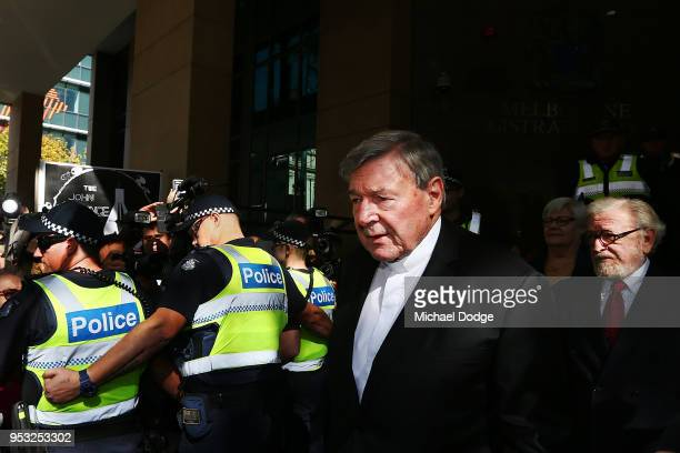 Cardinal George Pell leaves with his defending lawyer Robert Richter QC at Melbourne Magistrates' Court on May 1 2018 in Melbourne Australia Cardinal...
