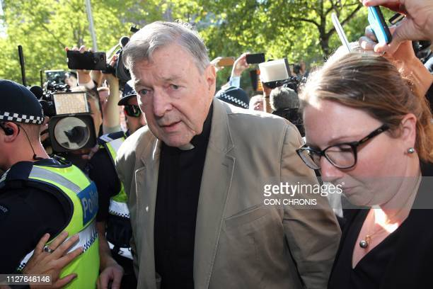 TOPSHOT Cardinal George Pell makes his way to the court in Melbourne on February 27 2019 Cardinal George Pell arrived in court possibly for the last...