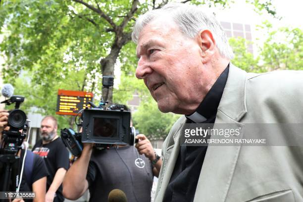 Cardinal George Pell walks from a car in Melbourne on February 26 2019 Cardinal George Pell the thirdranking official in the Vatican has been found...