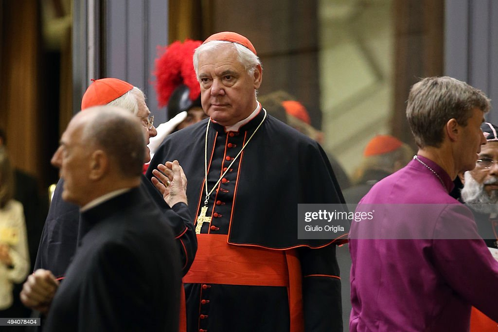 Cardinal Gerhard Ludwig Muller leaves the closing session of the Synod on the themes of family the at Synod Hall on October 24, 2015 in Vatican City, Vatican. The final document has been welcomed by most as a carefully crafted work of art which seeks to balance the very different views and cultural perspectives of all Synod participants.