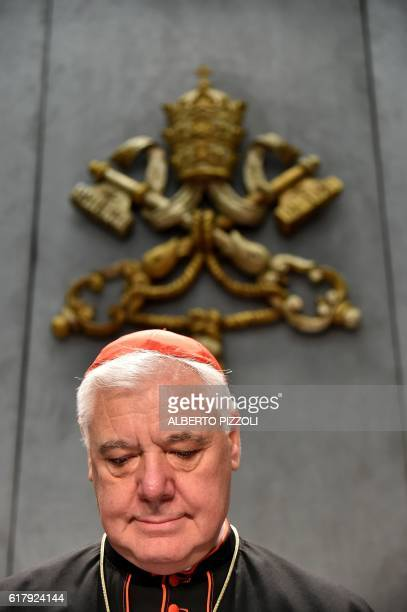 Cardinal Gerhard Ludwig Muller prefect of the Congregation for the Doctrine of the Faith attends a press conference on October 25 2016 at the Vatican...