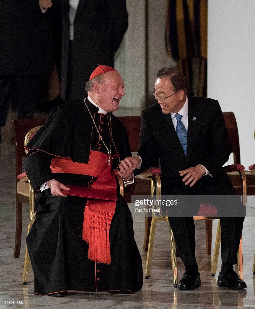 S SQUARE, VATICAN CITY, VATICAN - : Cardinal Gianfranco Ravasi (L) and U.N. Secretary General Ban Ki-moon (R) attend the International conference 'Sport at the Service of Humanity', the first global conference on faith and sport promoted by the Vatican Pontifical Council for Culture, in the Paul VI hall in Vatican City, Vatican.
