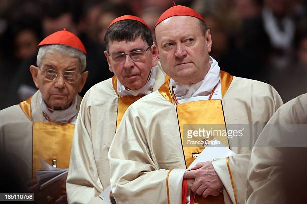 Cardinal Gianfranco Ravasi attends the Holy Saturday Easter vigil mass held by Pope Francis at St Peter's Basilica on March 30 2013 in Vatican City...