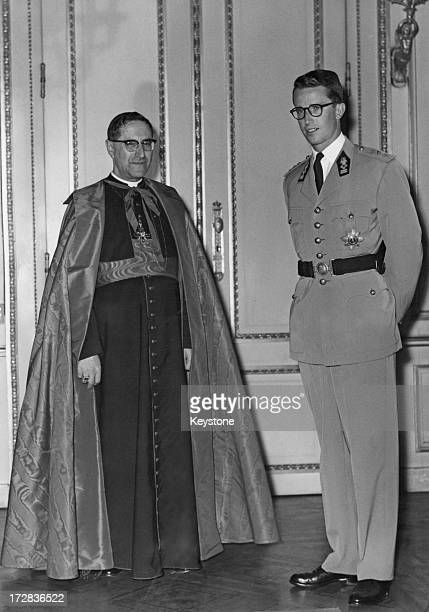 Cardinal Giuseppe Siri , Papal Envoy for the Holy Seat at the Brussels Universal Fair, is received for dinner by King Baudouin of Belgium in the...
