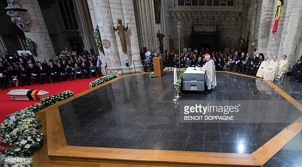 Cardinal Godfried Danneels leads the funeral ceremony of Queen Fabiola at the Saint Michael and Saint Gudula Cathedral in Brussels on December 12...