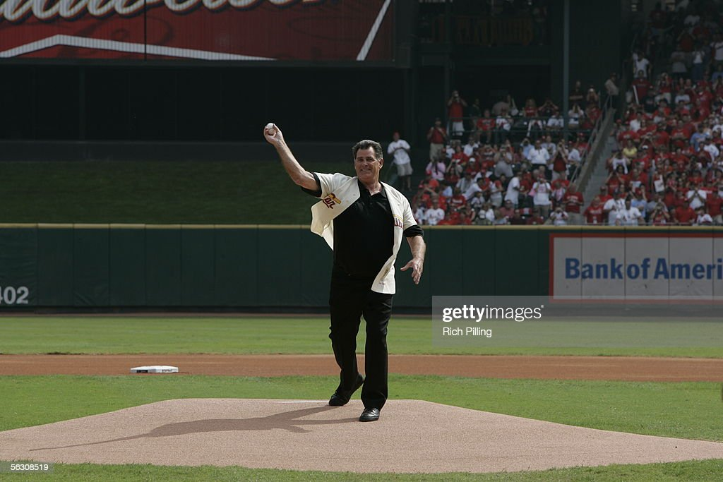 Cardinal great and radio broadcaster Mike Shannon throws out the first pitch before the final regular season game on October 2, 2005 in St. Louis, Missouri. Following the season, Busch Stadium will be torn down to make room for a new stadium. The Cards defeated the Reds 7-5.