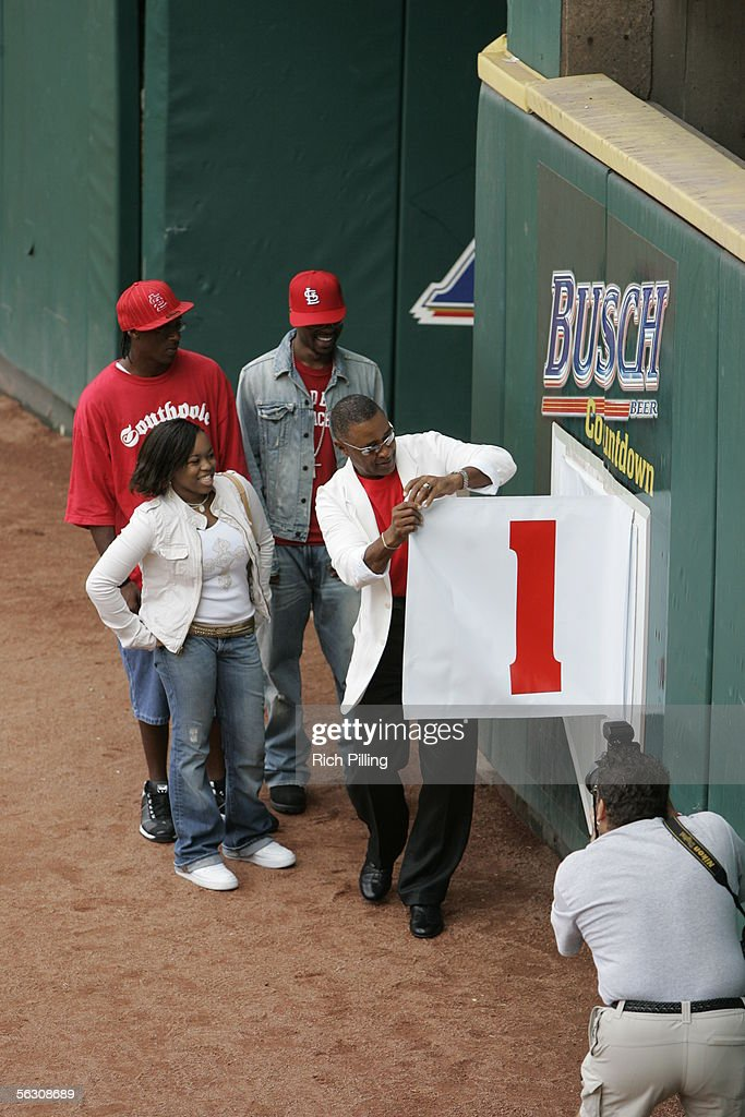Cardinal great Ozzie Smith, accompanied by his family, reveals the final page of the countdown upon the final regular season game at Busch Stadium on October 2, 2005 in St. Louis, Missouri. Following the season, Busch Stadium will be torn down to make room for a new stadium. The Cards defeated the Reds 7-5.