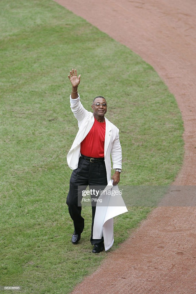 Cardinal great Ozzie Smith waves to the crowd before the final regular season game at Busch Stadium on October 2, 2005 in St. Louis, Missouri. Following the season, Busch Stadium will be torn down to make room for a new stadium. The Cards defeated the Reds 7-5.