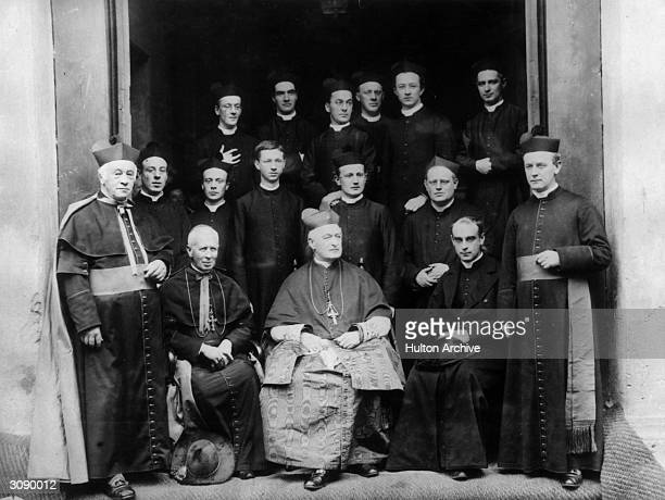 Cardinal Herbert Vaughan Archbishop of Westminster with students at the Catholic college of St Bede's in Manchester opened by himself in the 1880's