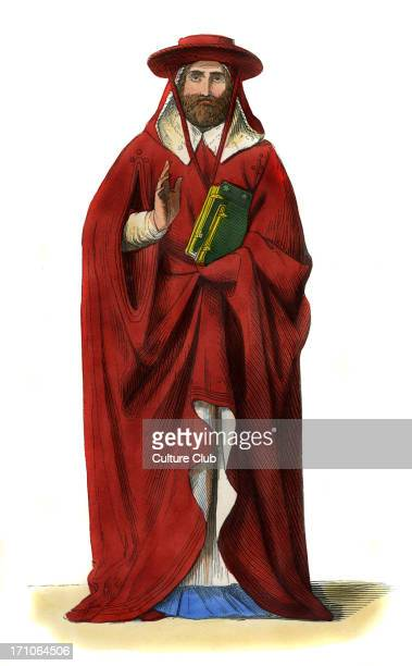 Cardinal Italian male costume of 15th century wearing scarlet hat and robes over a cassock and holding a gilt edged prayer book c 1847 handpainted...