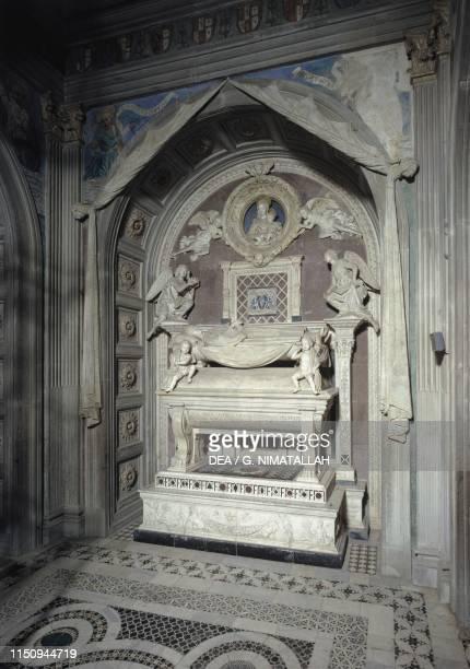 Cardinal Jacopo of Portugal's tomb, by Antonio Rossellino , Cardinal of Portugal Chapel, basilica of San Miniato al Monte , Florence , Tuscany,...