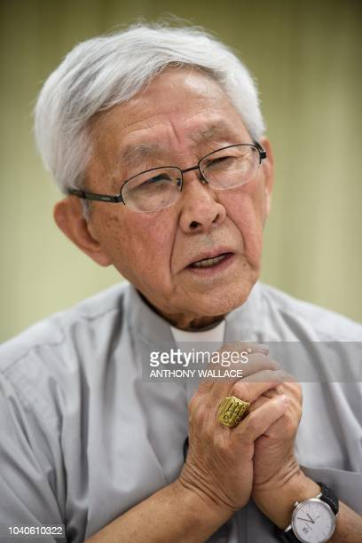 Cardinal Joseph Zen, former Bishop of Hong Kong, speaks during a press conference at the Salesian House of Studies in Hong Kong on September 26...