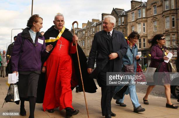 Cardinal Keith O'Brien is joined by other faith leaders as they take part in the Walk for Peace in Edinburgh on the 10th anniversary of the September...