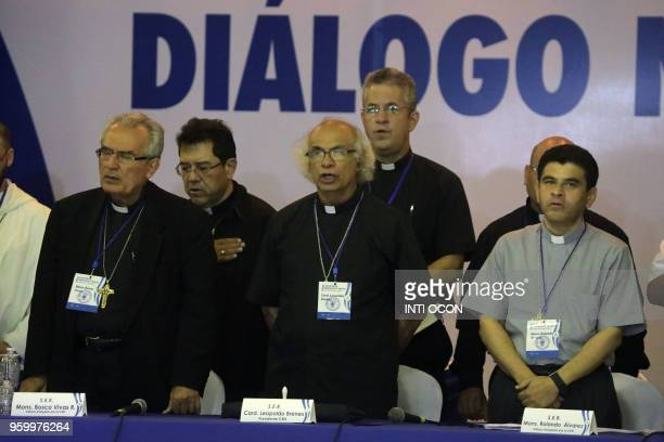 Cardinal Leopoldo Brenes along with other Roman Catholic church representatives sings the national anthem during the socalled national dialogue talks...