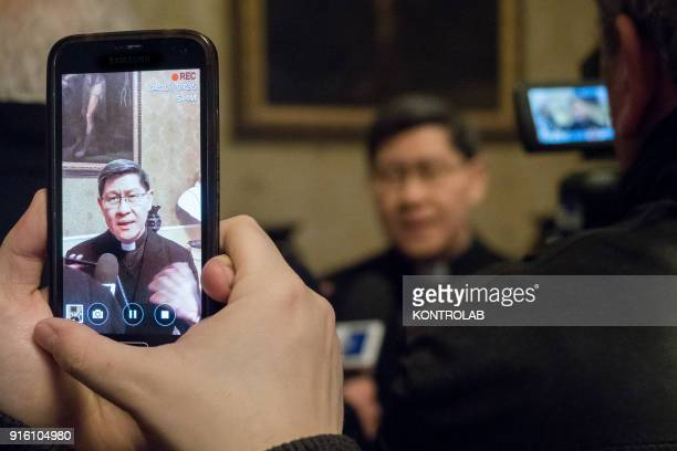 Cardinal Luis Antonio Tagle, archbishop of Manila and president of Caritas Internationalis during the press conference for the inauguration of the...
