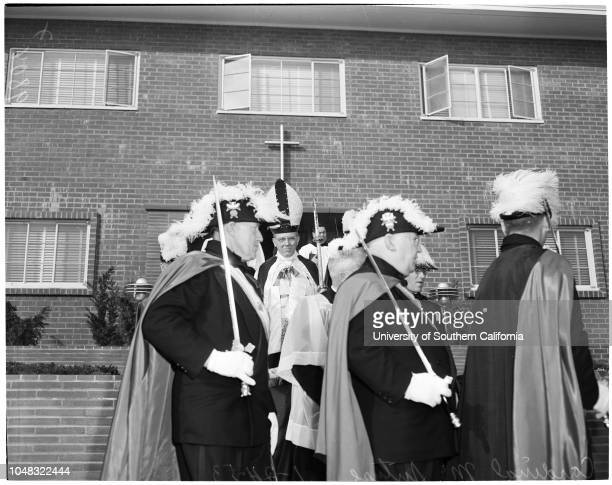 Cardinal McIntyre in San Pedro 25 January 1953Supplementary material reads 'Chernus Harbor Captions Cardinal McIntyre Two negs show James Francis...