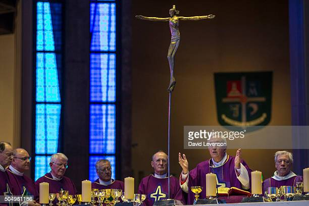 Cardinal Nichols takes Mass at Liverpool Cathedral in March 2014 on his first visit back to his hometown since becoming a Cardinal on March 16 2014...