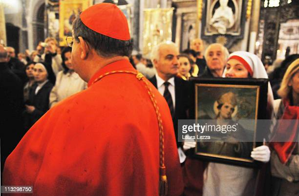 Cardinal of Naples Crescenzio Sepe leads the ceremony on the day of the blood miracle at Naples Cathedral on April 30 2011 in Naples Italy Twice a...