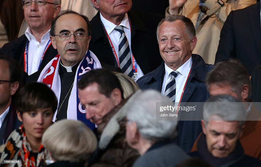 Cardinal Philippe Barbarin, Jean-Michel Aulas, President of OL, attend the Ligue 1 match between Olympique Lyonnais, OL, and Paris Saint-Germain FC, PSG, at the Stade Gerland on May 12, 2013 in Lyon, France.