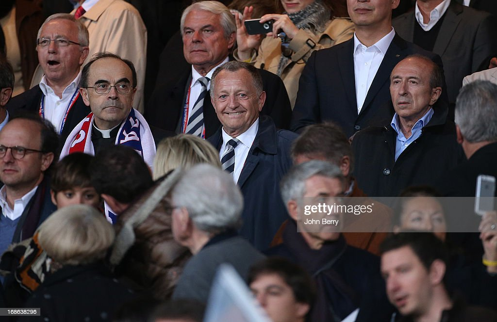 Cardinal Philippe Barbarin, Jean-Michel Aulas, President of OL, Gerard Collomb, Mayor of Lyon attend the Ligue 1 match between Olympique Lyonnais, OL, and Paris Saint-Germain FC, PSG, at the Stade Gerland on May 12, 2013 in Lyon, France.