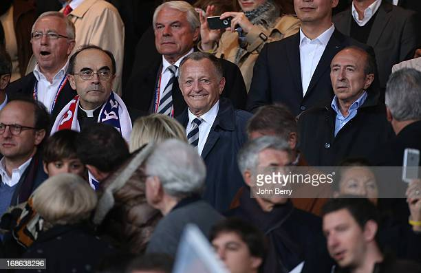 Cardinal Philippe Barbarin JeanMichel Aulas President of OL Gerard Collomb Mayor of Lyon attend the Ligue 1 match between Olympique Lyonnais OL and...