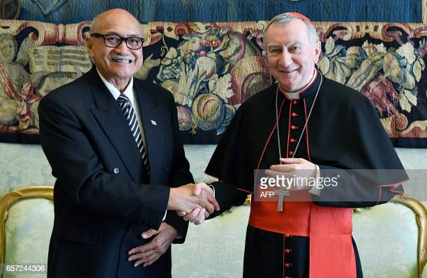Cardinal Pietro Parolin meets the President of the Republic of Fiji Jioji Konousi Konrote during a private meeting on March 24 2017 at the Vatican /...