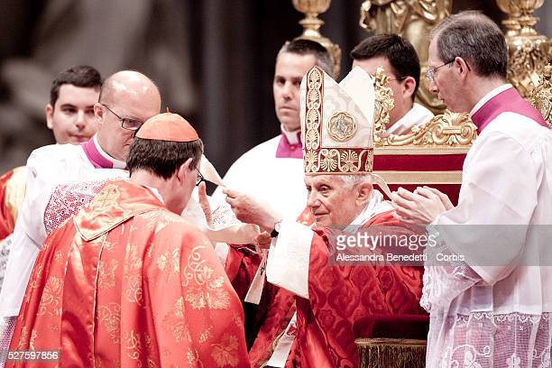 Cardinal Raine Maria Woekli archbishop of Berlin receives the Pallium from Pope Benedict XVI during St Peter's and St Paul's feast in St Peter's...