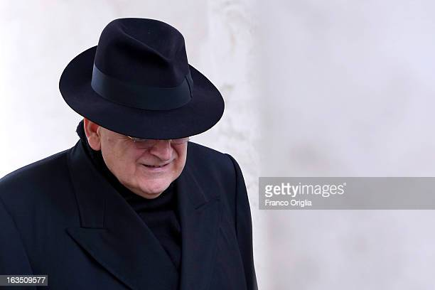 Cardinal Raymond Burke leaves the final congregation before cardinals enter the conclave to vote for a new pope, on March 11, 2013 in Vatican City,...