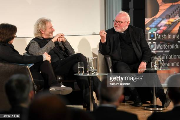 Cardinal Reinhard Marx archbishop of Munich and Freising and moderators Thomas Gottschalk and Anna Reidt culture director of the German television...
