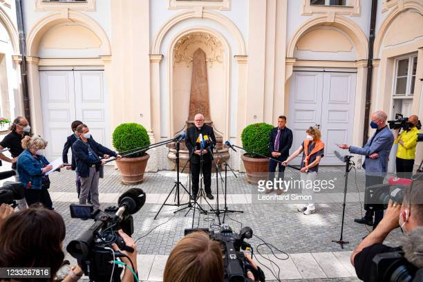 Cardinal Reinhard Marx, the Catholic Archbishop of Munich and Freising, speaks to the media following his offer of resignation to Pope Francis on...