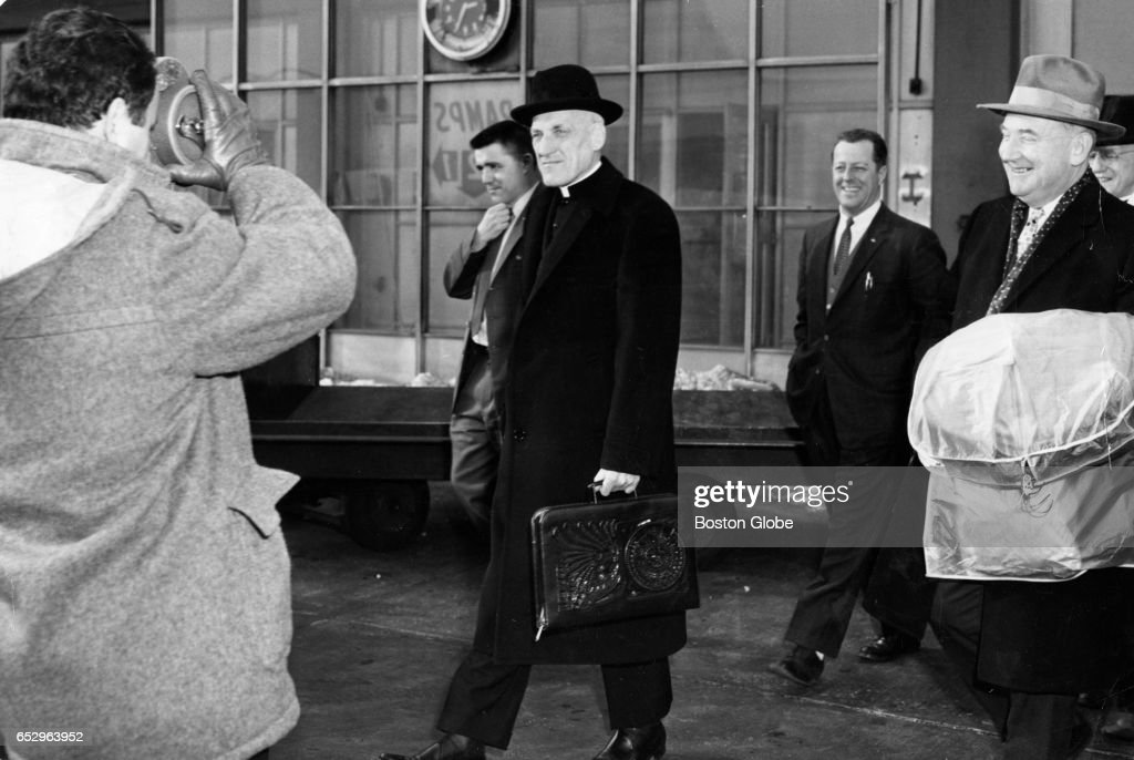 Cardinal Richard Cushing walks to his plane at Logan Airport in Boston on his way to Washington D.C. for the inauguration of President John F. Kennedy on Jan. 19, 1961.