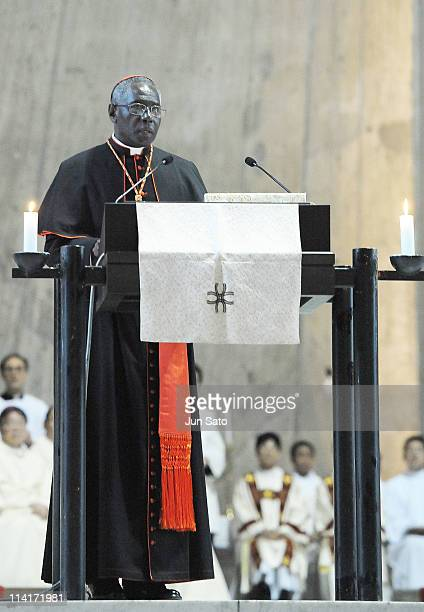 Cardinal Robert Sarah deliver a speech during the Thanksgiving Mass For the Beatification of Pope John Paul II at St. Mary's Cathedral on May 14,...