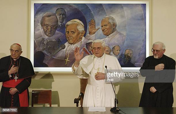 Cardinal Roberto Tucci Hans Peter Kolvenbach the Jesuit's General known as The 'Black' Pope receive the Pope Benedict XVI's blessing at the end of a...
