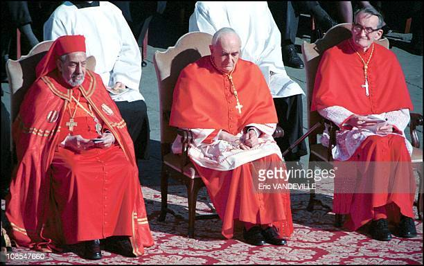 Cardinal Roberto Tucci in the middle the left is Stephanos II Ghattos and the right is Avrey Dulles in Rome Italia on February 23rd 2001