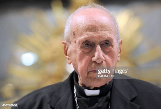 Cardinal Roger Etchegaray addresses the Churches of the World in Dialogue conference in Espelette in southwestern France on August 26 2014 At almost...
