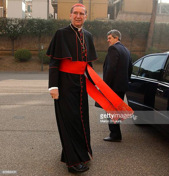Cardinal Roger Michael Mahony, Archbishop of Los Angeles walks towards the lobby of the North American College April 6, 2005 in Rome. The North...
