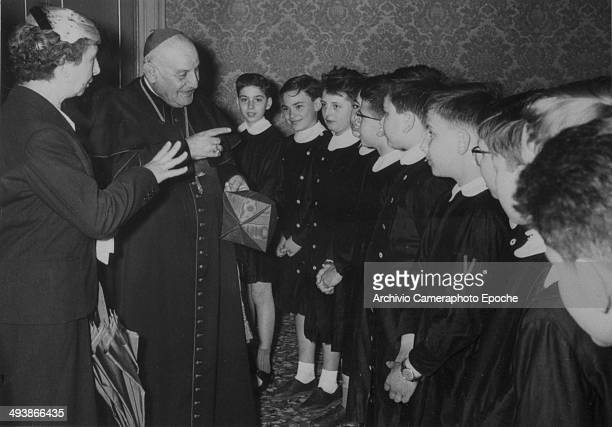 Cardinal Roncalli among Diedo School's pupils Venice May 22 1957.