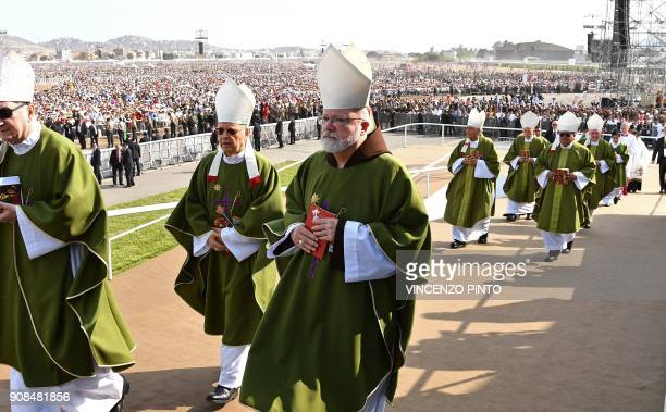 Cardinal Sean O'Malley attends the mass celebrated by Pope Francis at the Las Palmas air base in Lima on January 21 2018 O'Malley a close pontiff...