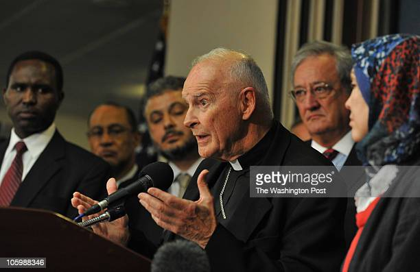 Cardinal Theodore McCarrick, Archbishop Emeritus of Washington, speaks as top Christian, Jewish, Muslim and other faith leaders from across the...